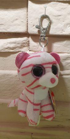 Kulcstartó rózsaszín csíkos cica