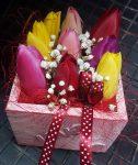 Tulipánok fadobozban