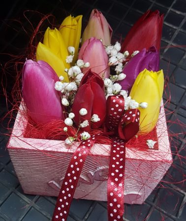 Tulipánok fadobozban (Csak Bp.-re és Pest megyébe rendelhető kiszállítással!)