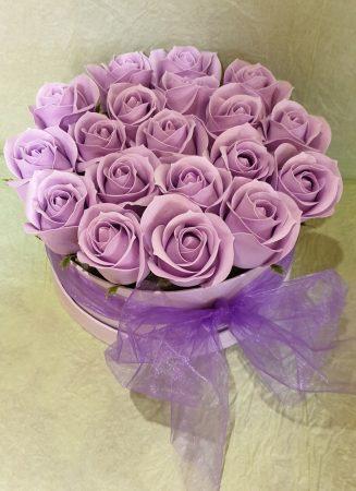 Szappan rózsa box levendula színű (Bp.-re és Pest megyébe rendelhető!)