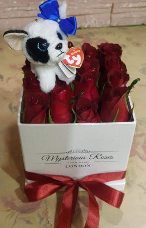 16-os rózsabox plüss kulcstartóval (Bp.-re és Pest megyébe rendelhető kiszállítással)