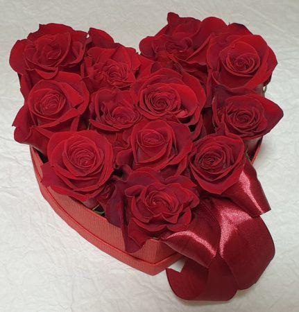 Szív alakú rózsabox