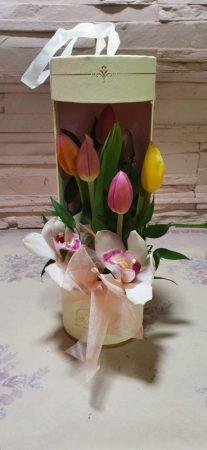 Tulipánok és orchideák díszdobozban