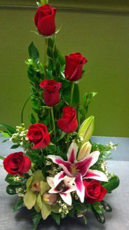 Rózsás orchideás  virágtál