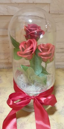 szappan rózsák üvegbúrában