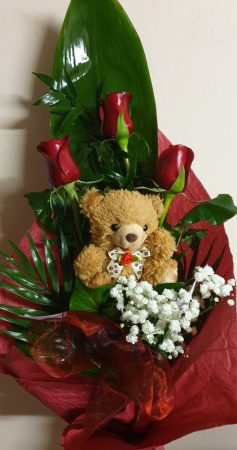 Rózsák macival