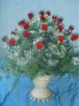 20 szálas rózsa kosár hosszú rózsából